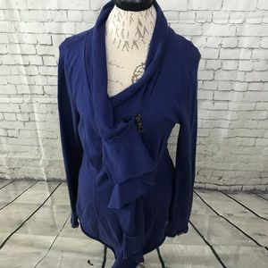 XCVI blue ruffle full zip jacket